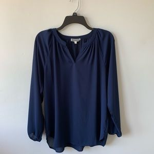 Pleione Navy 3/4 Sleeve Chiffon Blouse Top Small